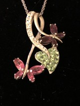 Artistique Sterling Silver Swarovski Elements Butterfly's and Heart Pen... - $32.73