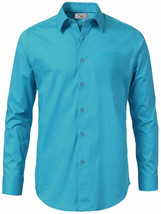 Boltini Italy Men's Casual Long Sleeve Solid Barrel Cuff Turquoise Dress Shirt image 2