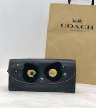 "NWT Coach F22724 ""Fuzz"" Bear Slim Envelope Snap Wallet Leather Black Multi $275 - $94.95"