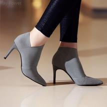 Ray Power Women Winter Sexy Thin Heels Pointed Toe Ankle Boots