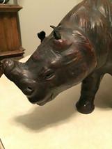 Large Vintage Leather Rhinoceros with Glass eyes sculpture figure figuri... - $98.99
