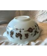 Pyrex Early American Cinderella Mixing Bowl 2 1/2 Qt 443 Glass White Brown  - $11.98