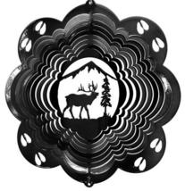 12 in stainless steel black Elk USA 3D hanging garden yard wind spinner spinners - $32.00