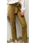 BCBG MAX AZRIA 100% Leather Suede 1970's Style Pant Sz 2 Belt Straight M... - $198.00