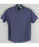 "Tasso Elba Mens XL 17-17.5"" Short Sleeve Button Up Shirt Purple/Black (L6) - $28.05"