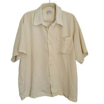 Tommy Bahama Relax Beige Silk Button Up Shirt XL Short Sleeve Ribbed Pocket - $29.96