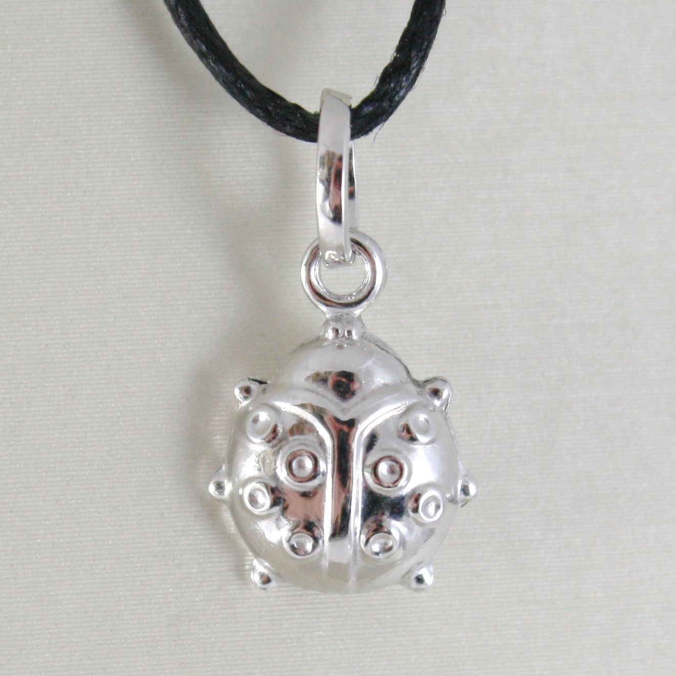 18K WHITE GOLD ROUNDED LADYBUG PENDANT CHARM 18MM SMOOTH LADYBIRD MADE IN ITALY
