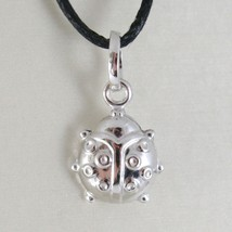 18K White Gold Rounded Ladybug Pendant Charm 18MM Smooth Ladybird Made In Italy - $65.55