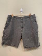 Wrangler Dark Grey Distressed Jean Shorts Men's Size 40 Relaxed Fit Carpenter - $15.14