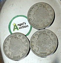 Liberty Head Nickel Five-Cent V Pieces 1907, 1908 and 1909 AA20-CNN2150 Antique