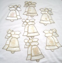 Set of 7 Vintage Shale Like Bell Shaped Stained Glass Style Ornaments - $14.99