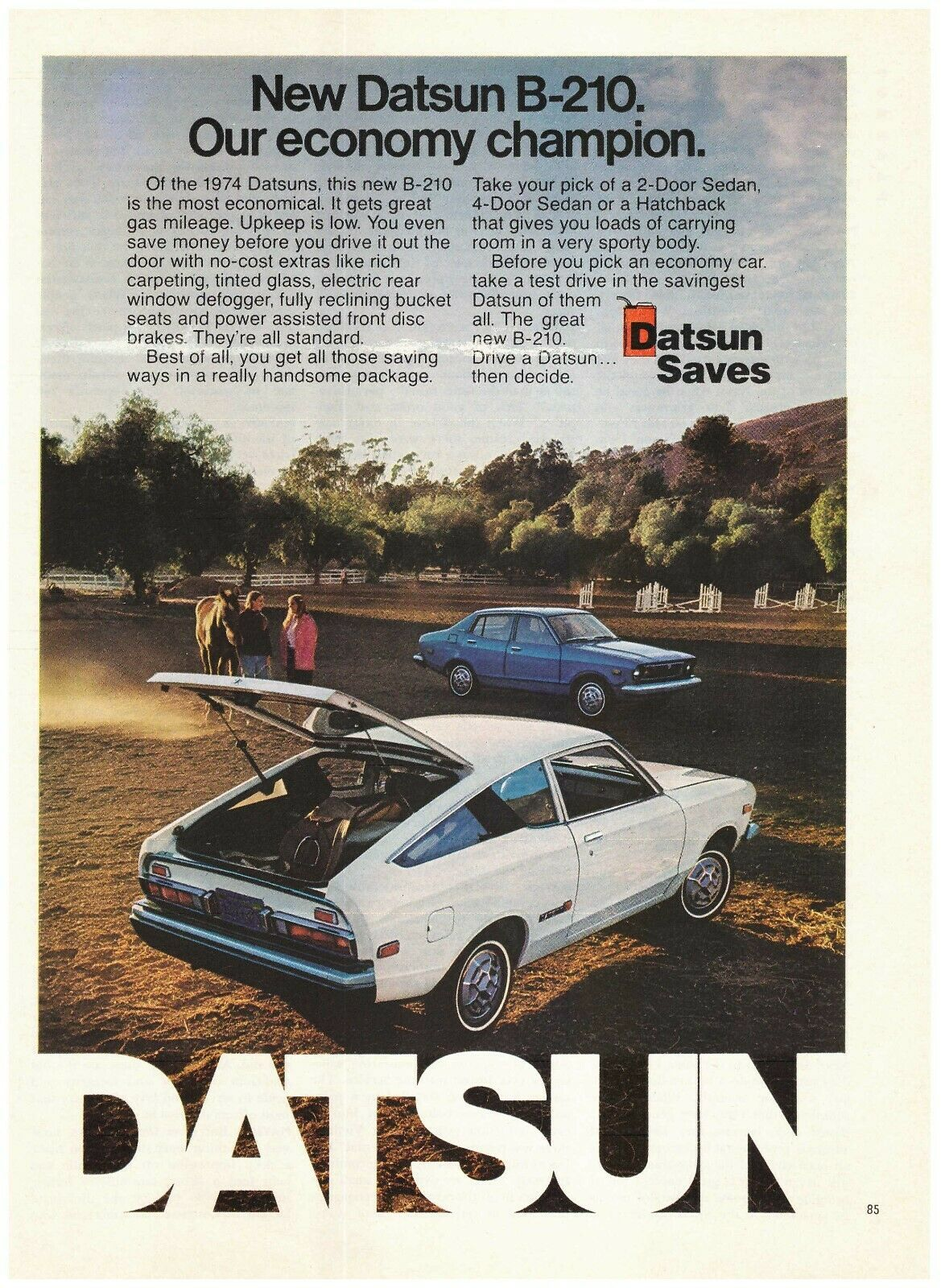 Original 1974 Datsun B-210- Our Economy Champion- Horse Riding Vintage Print Ad - $7.99