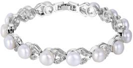 EVER FAITH Silver-Tone Cubic Zirconia Cream Simulated Pearl Elegant Dual... - $76.08