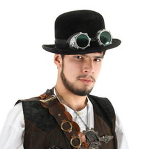 SteamPunk and Cosplay Victorian Black Bowler Distressed Suede Top Hat NE... - $22.24