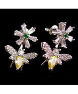 Sparkling CZ Bee earrings - pierced insect Silver flower figural novelty... - $55.00