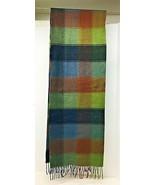 NICE Cashmere Dark Plaid Browns Blues Greens Warm Scarf 65 Inch  - $24.26