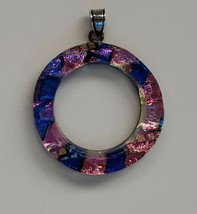 Dichroic Glass Pendant Iridescent Pink Purple Blue Gold Artisan - Pre-Owned - $14.85