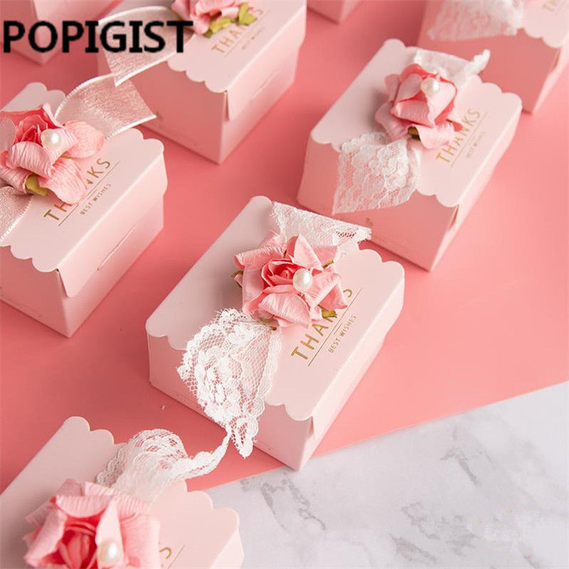 POPIGIST® Creative Pink Flower Wedding Favors DIY Candy Boxes Bomboniera Thanks