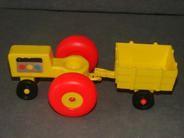 Fisher Price Little People: Yellow Farm Tractor + Yellow Cart - $11.00