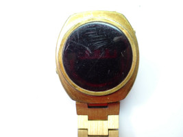 RED LED WATCH gold color WATCH TO RESTORE or parts - $87.32