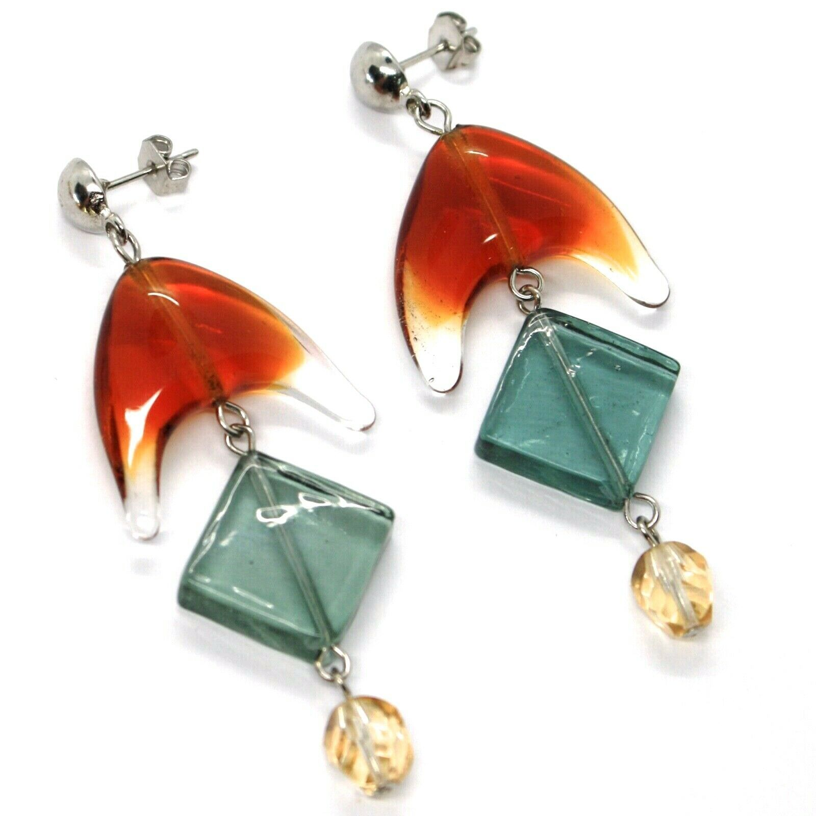 Earrings Antica Murrina Venezia,Hanging,Triangle Orange,Rhombus Green