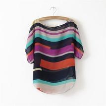 Fashion Striped Short Sleeve Chiffon Blouse Women's Casual Tops Tee HB010