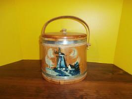 "Wooden Cookie Jar Pail Bucket Handle Holland Mi. Windmill Vintage 7.5"" - $23.21"