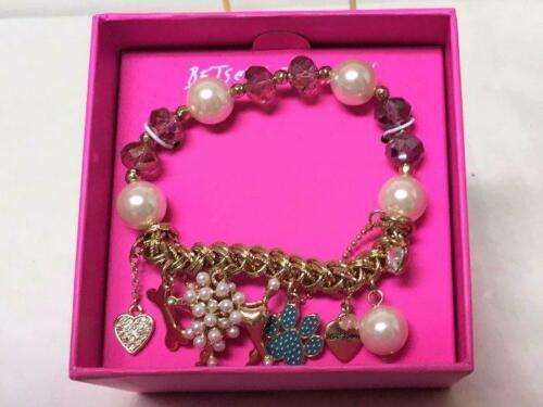 Betsey Johnson Poodle Dog & Beads Stretch Bracelet New in Box