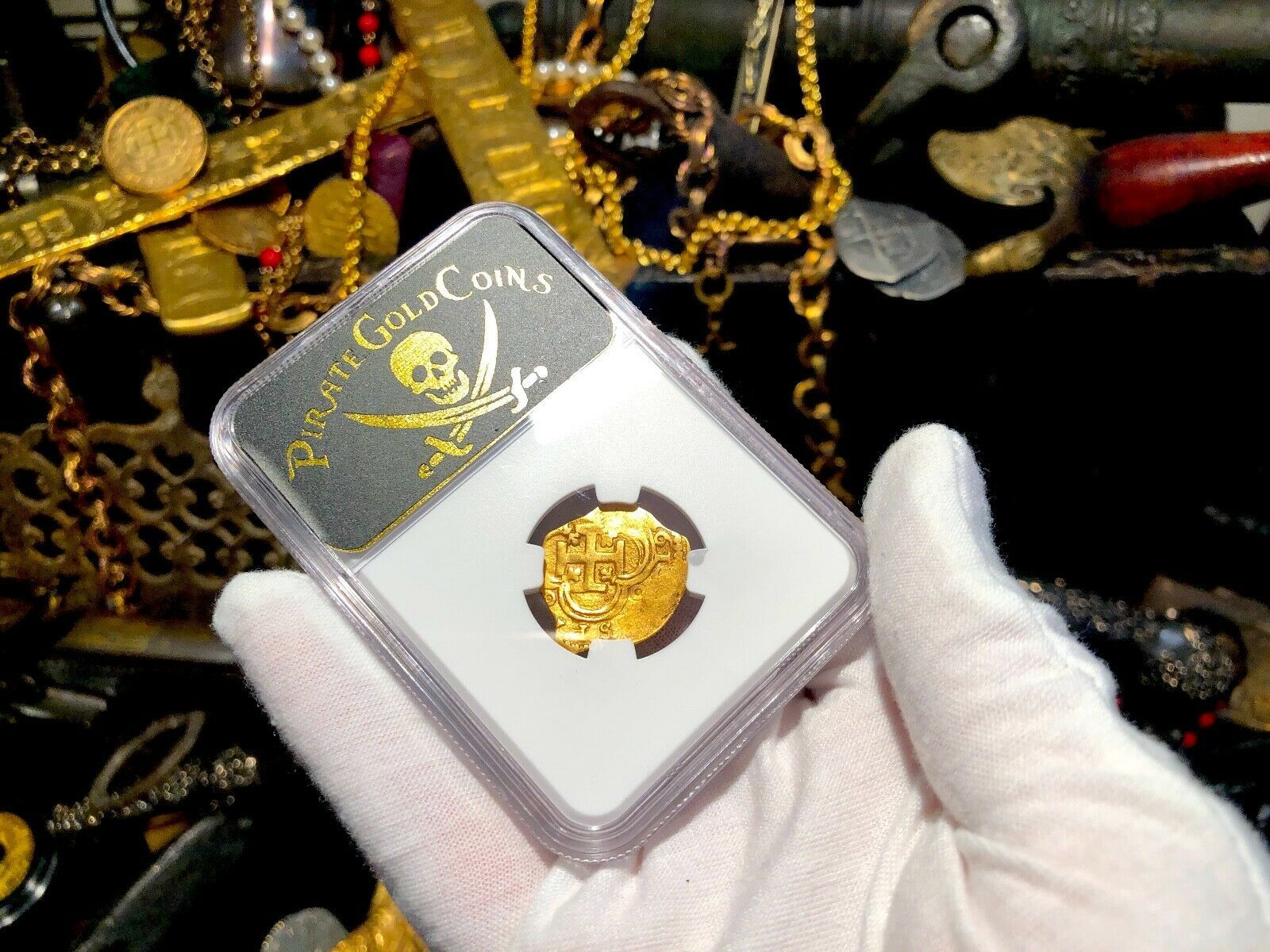"""SPAIN 2 ESCUDOS 1615 """"DATED"""" NGC 53 PIRATE GOLD COINS TREASURE DOUBLOON"""