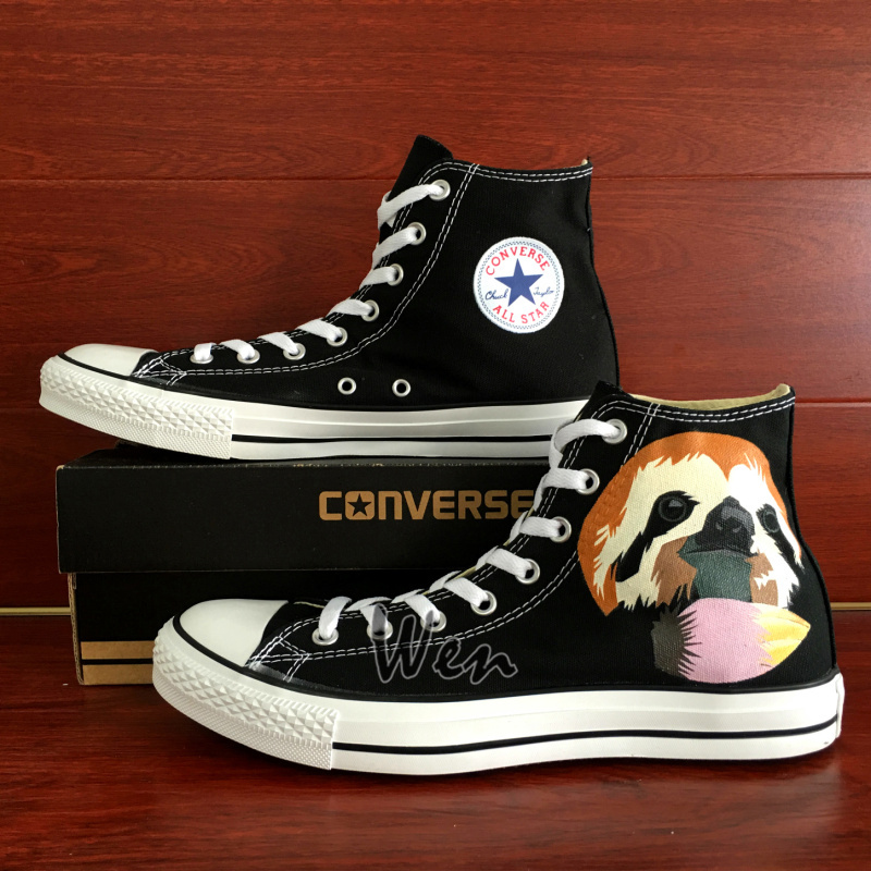 Cute Sloth Design Converse All Star Hand Painted Shoes Men Women's Sneakers Wen