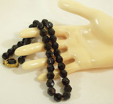 JET Black Faceted Glass Beads Necklace CHOKER Strand String Sparkle Gold... - $27.71