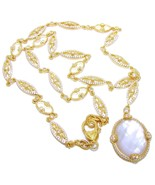 """Judith Ripka 14K YG Clad Mother-of-Pearl +Diamonique Y-Necklace 20"""" QVC$... - $338.00"""