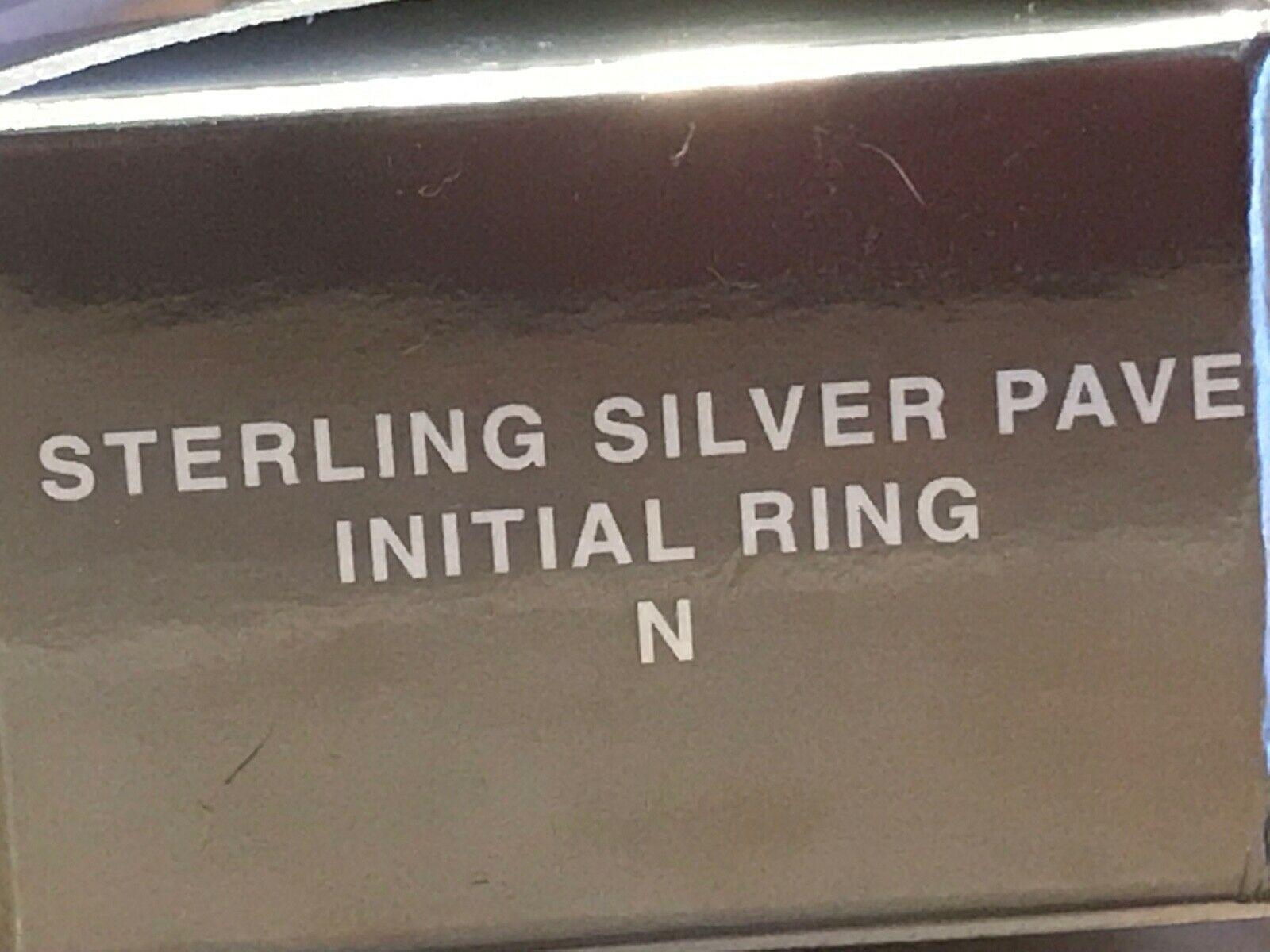 """Vintage Avon Initial """"N"""" 925 Sterling Silver Ring w Gemstones Adjustable image 6"""