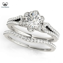 Flower Style Bridal Ring Set Round Cut Diamond 14k White Gold Plated 925 Silver - $83.99