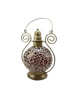 "Northlight 12"" Red White Mosaic Glass Tea Light Candle Holder Doom Lantern - $27.22"
