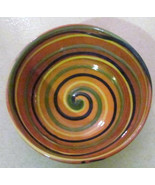 "Handmade Earthworks Ceramic Pottery ""Orange Swirl"" Bowl Barbados by Gold... - $38.99"