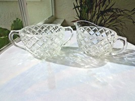 Hocking Waterford Pattern Clear Glass Cream & Sugar Set c 1938 - $22.76