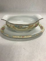 Mid Century Modern NORITAKE M floral gravy boat attached underplate  9 inch - $41.57