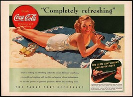 Vintage magazine ad COCA COLA 1941 Completely Refreshing woman in bathing suit - $12.99