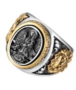 Vintage Buddhism Goddess 925 Silver Dragon Male Ring Gold Retro Black Male - $64.99