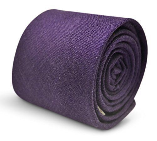 Frederick Thomas plain cadbury purple linen men's tie
