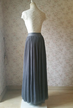 DARK GRAY Maxi Tulle Skirt For Wedding Dark Grey Wedding Bridesmaid Skirt,wd398 image 4
