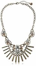 Fragments Gold Tone Glass Crystal CZ Bar Bib Oval Chain Necklace NWT