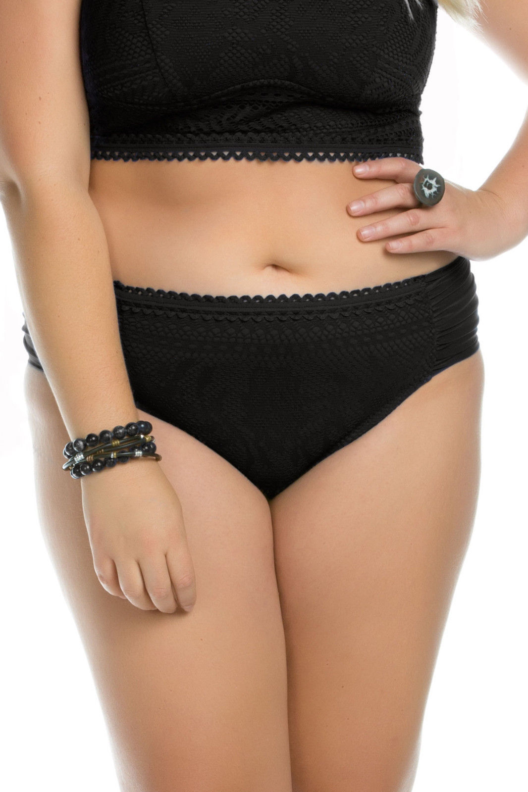 Primary image for  NEW BECCA Black Crocheted Ruched Tab Sides Plus Size Bikini Bottom 1X 16-18