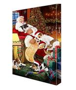 Happy Holidays with Santa Sleeping with Jack Russell Dogs Canvas (10x12) - $58.41