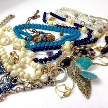 Costume Jewelry Lot Boho Mod mixed materials Blue White rhinestone vtg 2... - $29.69