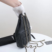 AUTHENTIC CHANEL QUILTED BLACK LAMBSKIN BACKPACK BAG GHW image 2