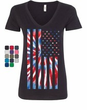 Tie-dye American Flag Women's V-Neck T-Shirt 4th of July Stars and - $14.96+