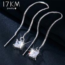 17KM® Cubic Zirconia Square Eye Dangle Drop Earrings For Women Tassel Ea... - $4.31