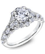 Romantic 14K White Gold Classic Halo Ring 1CT Lab Grown Diamond Ring Ladies - $1,599.99